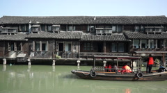 Cruise boat on canal in ancient town,Wuzhen Stock Footage