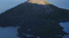 Wizard Island in Crater Lake National Park Stock Footage