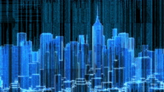 City Skyline Fly Around Orbit Digital Matrix Animation Stock Footage