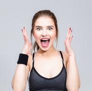 Portrait of a sports woman feel surprised facial expression Stock Photos