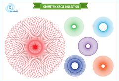 spirograph or round ornament or geometric circle isolated - stock illustration