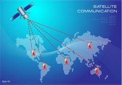 Word map with satellite communication illustration - stock illustration