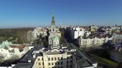Flight over orthodox church - Saborna church Belgrade Stock Footage