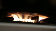 Gas burner at  kitchen range Stock Footage