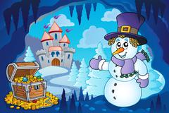 Winter cave with snowman Stock Illustration