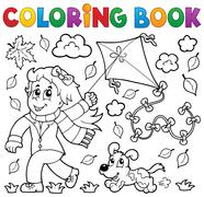 Coloring book with girl and kite - stock illustration