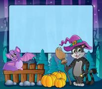 Mysterious forest Halloween frame 8 Stock Illustration