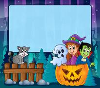 Mysterious forest Halloween frame 5 Stock Illustration