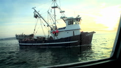 A fish-cutter navigates in open waters. Stock Footage