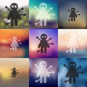 Stock Illustration of voodoo Doll icon on blurred background
