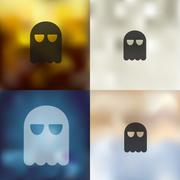 Stock Illustration of ghost icon on blurred background
