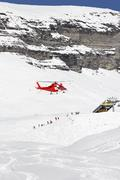 Rescue helicopter landing - stock photo