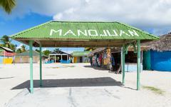 Mano Juan village in Saona Domenican Republic - stock photo