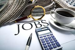 job search still life with title jobs - stock photo