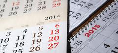 calendars laid on the table - stock photo