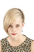 Leopard woman piercing look Stock Photos