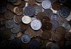 Handful of Russian rubles Stock Photos