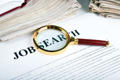 office supplies and job search - stock photo