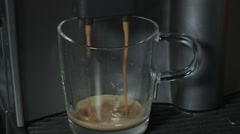 Coffee machine making a glass cup of coffee Stock Footage