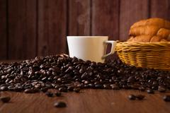coffee still life on a wood background - stock photo