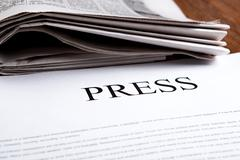 document with the title of press - stock photo