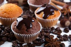 chocolate cake with coffee beans - stock photo