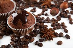 Chocolate cake with coffee beans Stock Photos