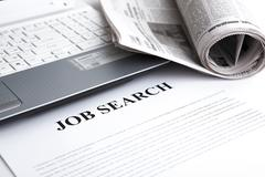 Document with the title of job search Stock Photos