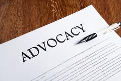 document with the title of advocacy - stock photo