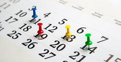 large wall calendar with needles - stock photo