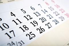 calendar days with numbers close up - stock photo
