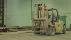 Construction Fork Lift Lifting Metal Storage Container On Construction Site Stock Footage