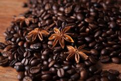 roasted coffee and star anise - stock photo