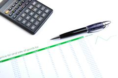 Business still-life with digits and calculator Stock Photos