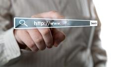 man's hand clicks on the address bar - stock illustration