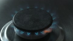 Natural gas inflammation in stove burner, close up Stock Footage