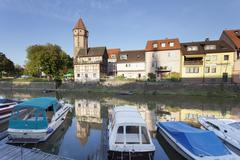 Old town with Spitzer Turm Tower, Tauber River, Wertheim, Main Tauber District, Stock Photos