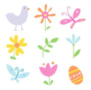 Spring Holiday Objects - stock illustration