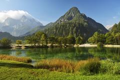 Lake Jasna and Julian Alps, Kranjska Gora, Slovenia, Europe Stock Photos