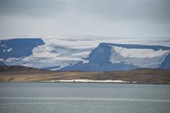 Huge glacier in Bjornsund, Svalbard, Arctic Stock Photos