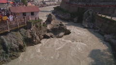 Alaknanda River at Badrinath in Uttarakhand, India Stock Footage