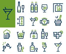 Drink alcohol beverage icons set Stock Illustration