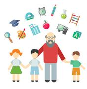 Teacher and children, miscellaneous student in flat style - stock illustration