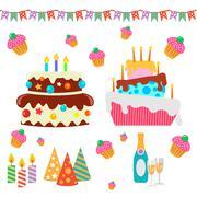 Retro Birthday Celebration Design Elements - for Scrapbook, Invitation in vector - stock illustration