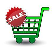 basket black ticket sale - stock illustration