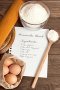 Home made bread recipe. - stock photo