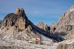 Torre di Toblino and Locatelli refuge on the trail around Tre Cime di Lavaredo, Stock Photos