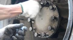 Automotive motor car mechanic Tighten bolts firmly Stock Footage