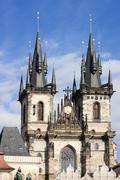 Twin Gothic steeples of Church of Our Lady before Tyn, Old Town iconic landmark, Stock Photos