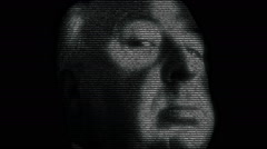 Animation of Alfred Hitchcock Stock Footage